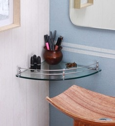 Ankur Bathfitt Corner Round Transparent Glass & Stainless Steel 12 X 12 Inch Bathroom Shelf (Model: Gs 01 B)