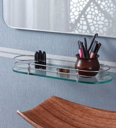 Ankur Bathfitt Oval Shape Transparent Glass & Stainless Steel 18 X 6 Inch Bathroom Shelf (Model: Gs 02 B)