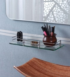 Ankur Bathfitt Transparent Glass & Stainless Steel 15 X 6 Inch Bathroom Shelf (Model: Gs 05 A)