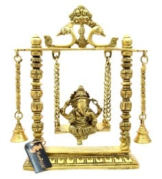 Antique Yellow Brass Ganesha On Jhoola Swing With Bells Idol