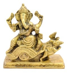 Antique Yellow Brass Ganesha On Rath Idol