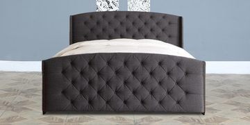 Anniston Queen Size Upholstered Bed In Charcoal Finish
