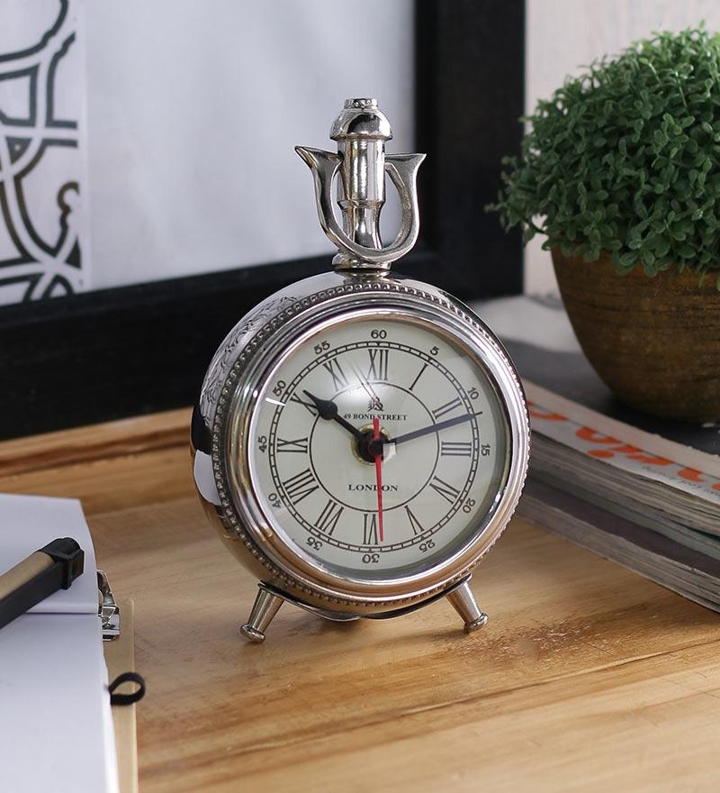 Anantaran Silver Aluminium Stylish Table Clock