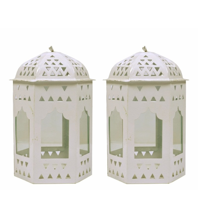 White Metal Lantern Set of 2 by Anasa