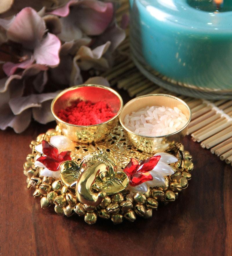 Multicolour Metal Haldi Kum Kum Stand by Anisha Creatives