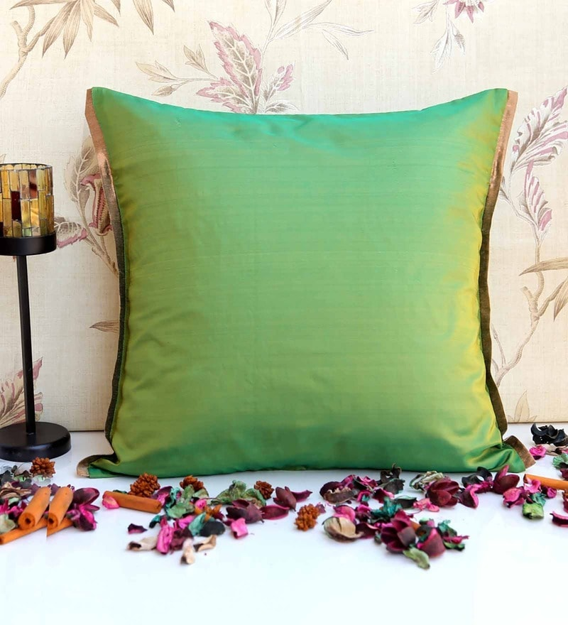 Lap Green Poly Silk 16 x 16 Inch Cushion Cover by ANS