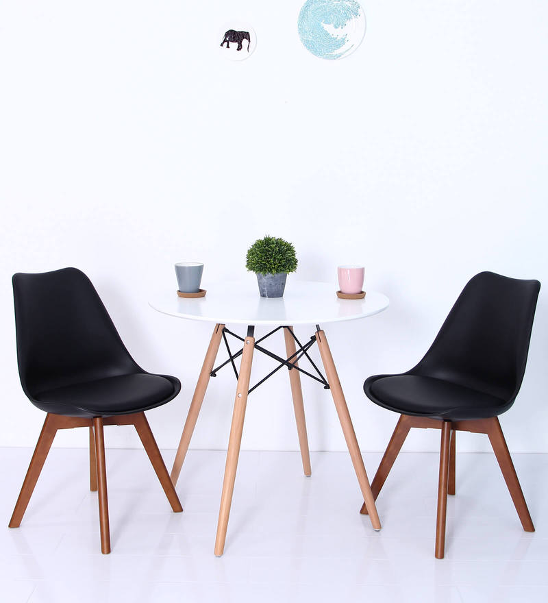 Anzu Accent DSW Eames Replica Plastic Chair (Set of 2) in Black Colour by Mintwud