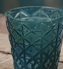 Anasa Blue Glass Intricate Carving Votive Tea Light Holder