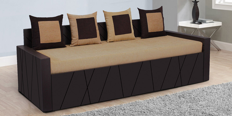 Apollo Sofa Cum Bed with 4 Pillows in Brown Colour by Auspicious Home
