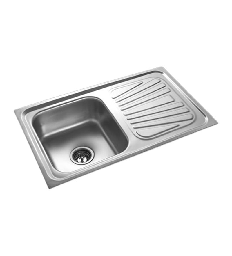 Apollo Stainless Steel Single Bowl Kitchen Sink with Drainer - AS22