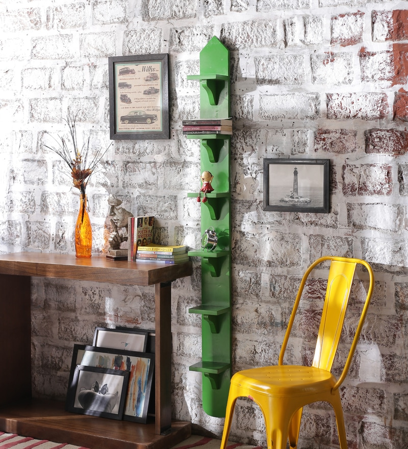 Rico Contemporary Wall Shelf in Green by CasaCraft