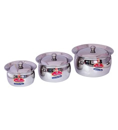 Aristo Induction Bottom 750 To 2500 ML Stainless Steel Handis - Set Of 3