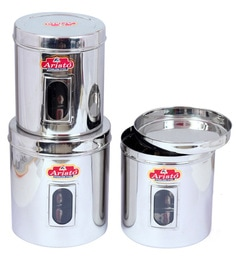 Aristo Stainless Steel Transparent Containers - Set Of 3