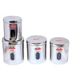 Aristo Stainless Steel Transparent Containers - Set Of 4