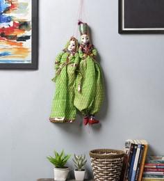 Green Cloth Pupet Wall Hangings - Set Of 2