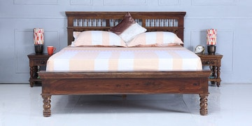 Aramika Queen Size Bed In Provincial Teak Finish
