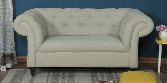 Merveilleux Areia Two Seater Sofa In Beige Colour