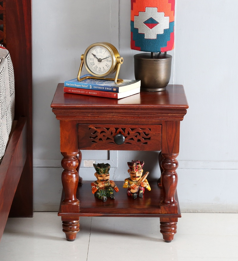 Aramika Bedside Table in Honey Oak Finish by Mudramark