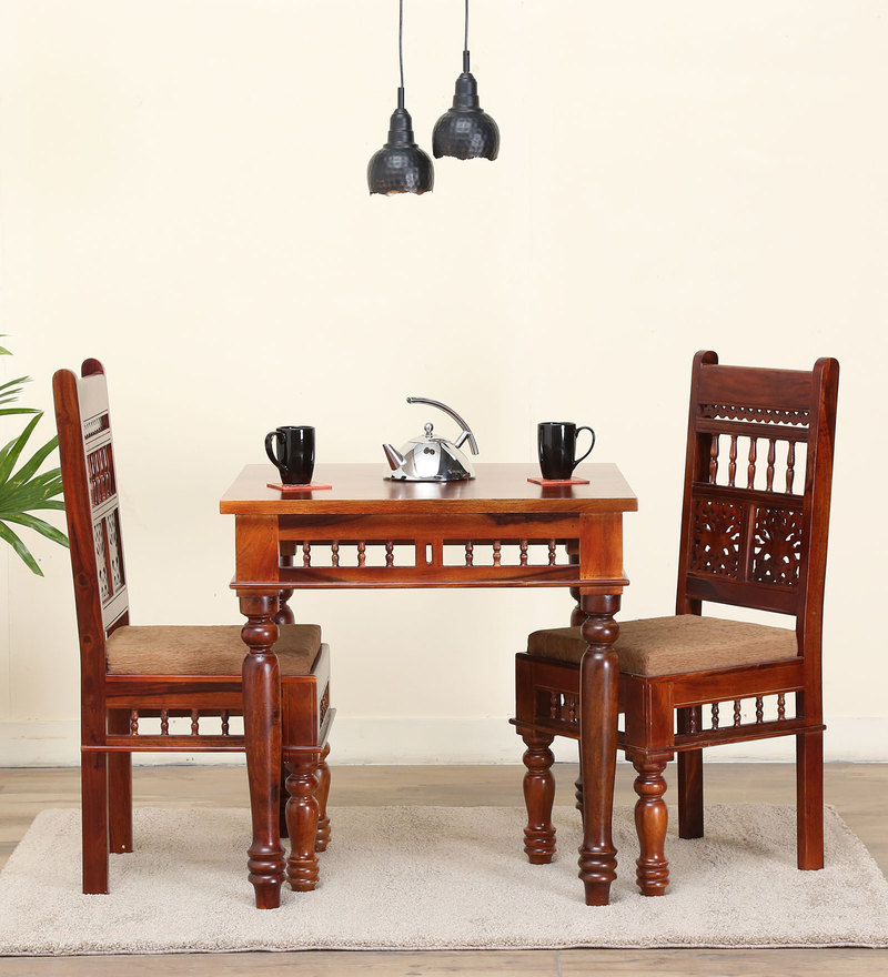 Aramika Solid Wood Two Seater Dining Set In Honey Oak Finish By Mudramark
