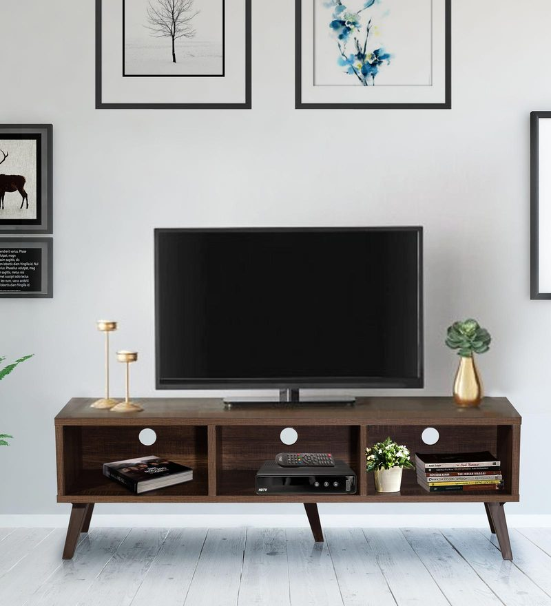 Arata Entertainment Unit with Three Slots in Oak Finish by Mintwud