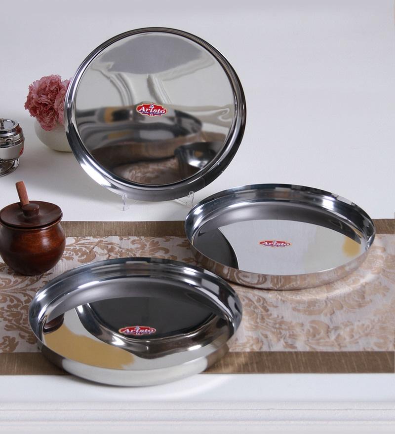Aristo Dinner Plates Steel Thali - 3 Pcs Set-28Cm S13