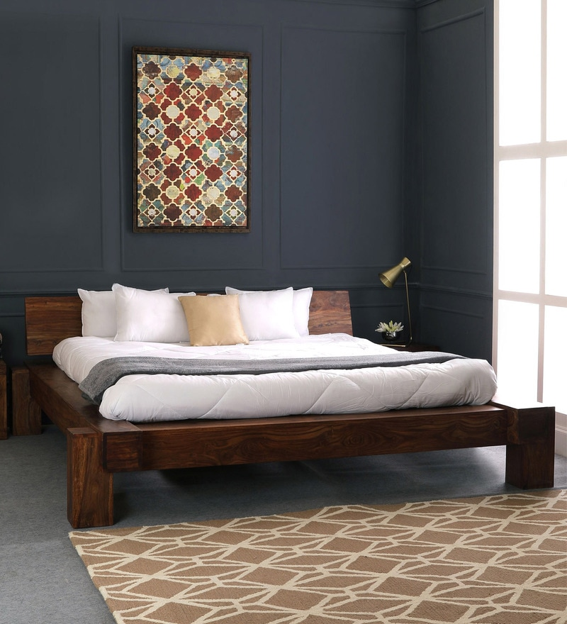 Buy Woodway Solid Wood King Size Bed With Storage In Provincial Teak