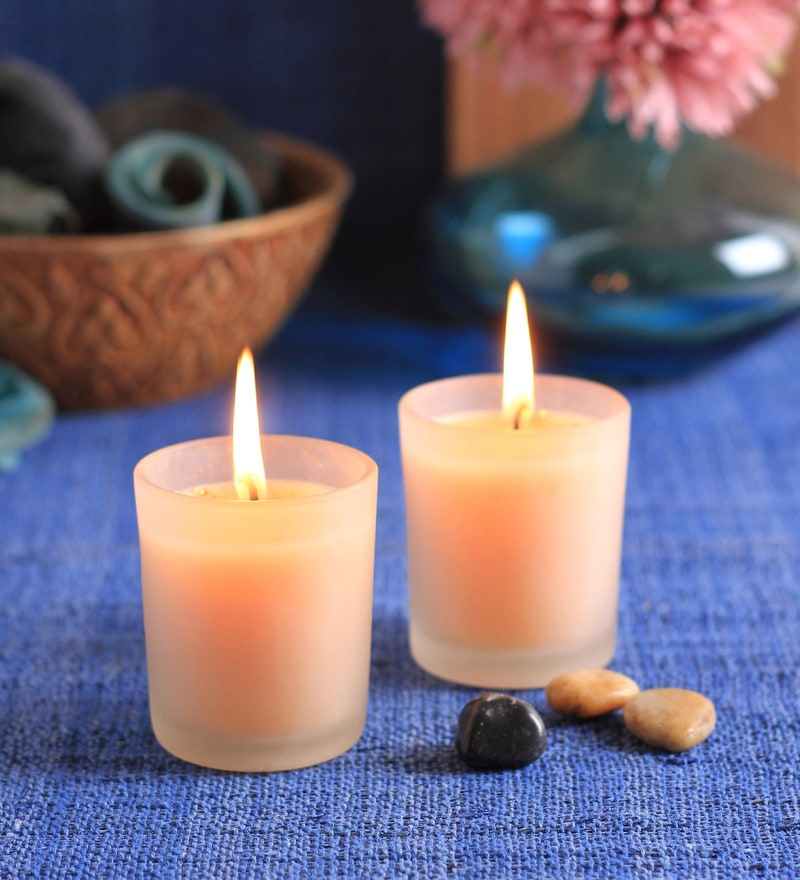 Aqua Mandarin Frosted Scented Votive Candle - Set of 2 by Aroma India