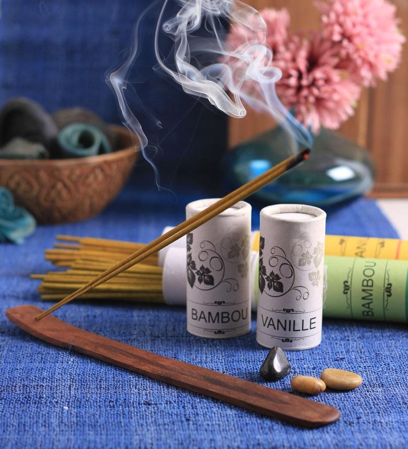 Bamboo Tea & Vanilla Incense Sticks Set by Aroma India