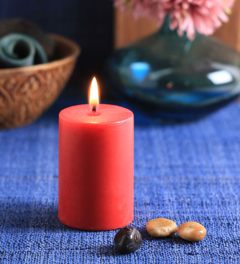 Rose Scented Pillar Candle by Aroma India