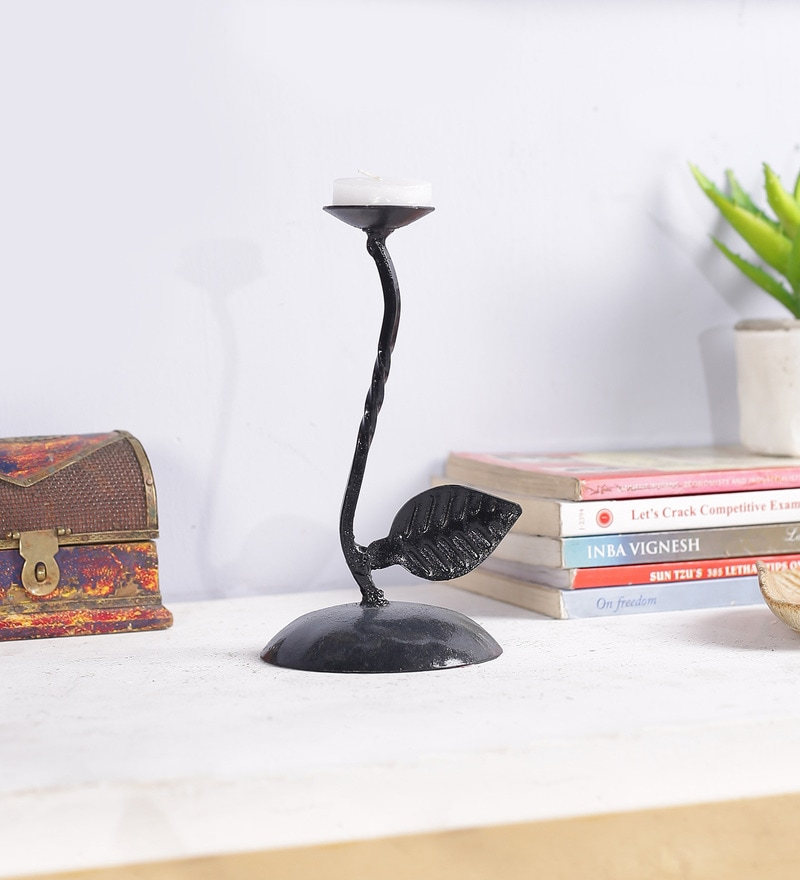Black Metal Candle Holder by Art of Jodhpur