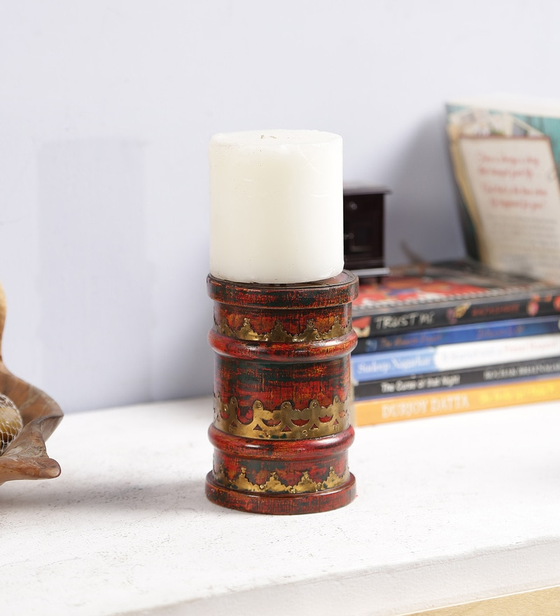 Multicolour Solid Wood Candle Holder by Art of Jodhpur