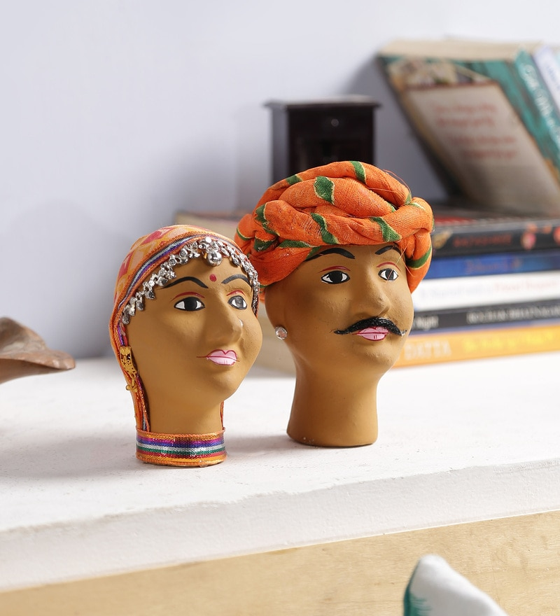 Multicolour Solid Wood Figurines - Set of 2 by Art of Jodhpur