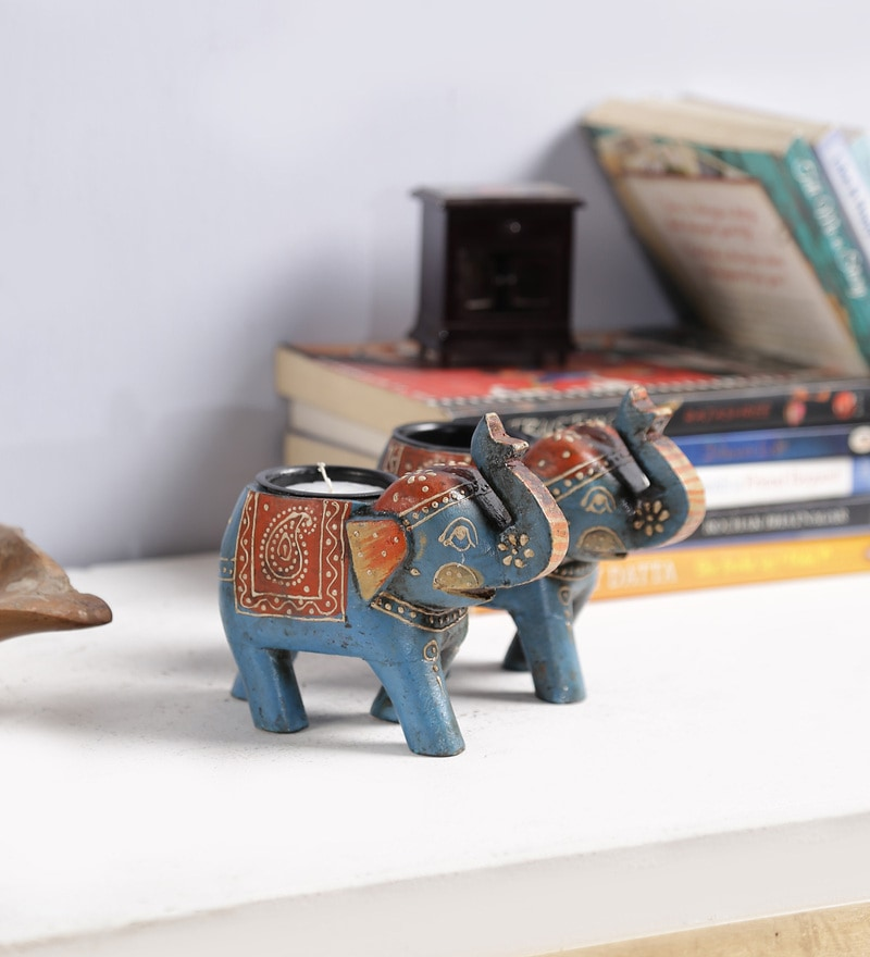 Art of Jodhpur Multicolour Solid Wood Showpieces - Set of 2