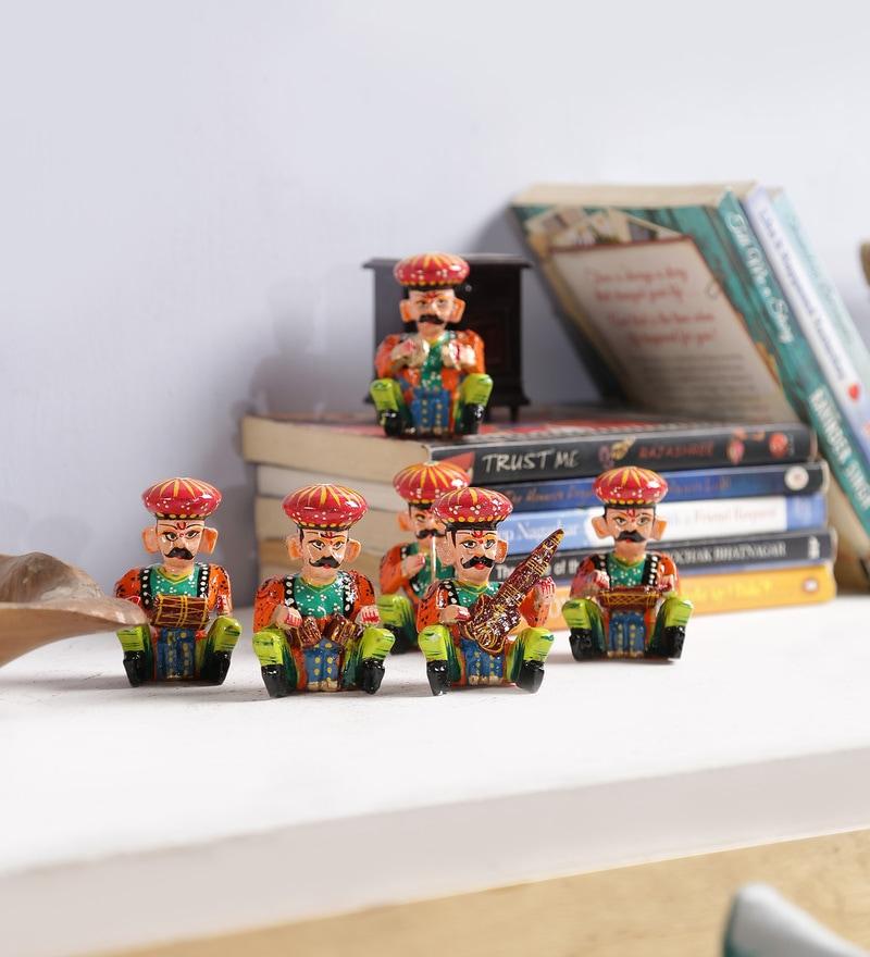 Art of Jodhpur Multicolour Solid Wood Figurines - Set of 6