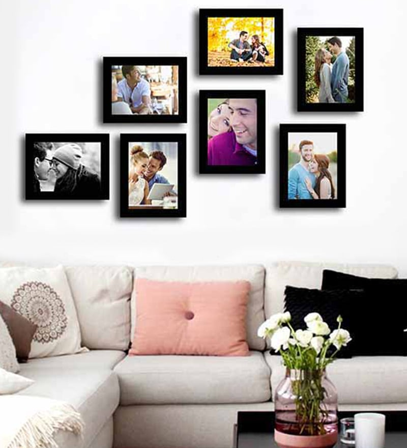 Black Fibre Wood Subtle Individual Wall Photo Frame - Set of 7 by Art Street