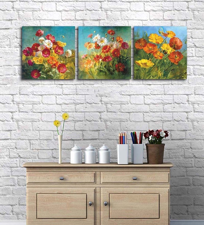 Cotton & Canvas 15 x 47 Inch Flower Power Original Art On Canvas - Set of 3 by Art Street
