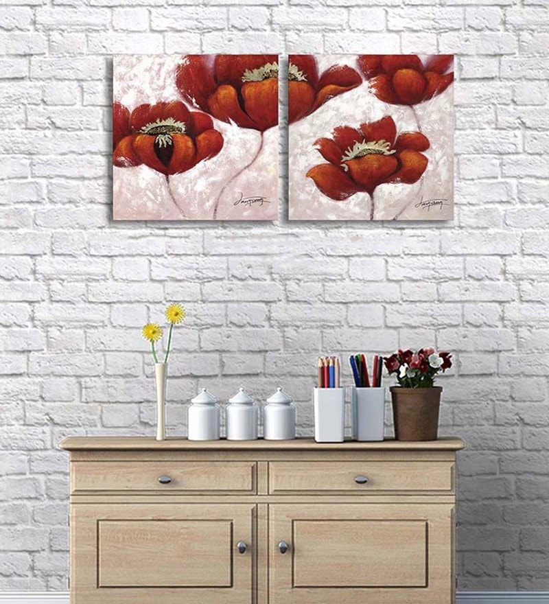 Cotton & Canvas 20 x 42 Inch Floral Beauty Original Art On Canvas - Set of 2 by Art Street