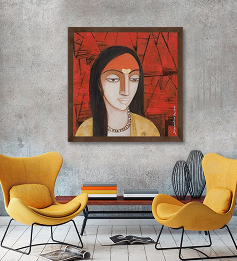 Canvas 18 x 18 Inch Face with Icon II Framed Limited Edition Digital Art Print by Devashish Das by ArtCollective