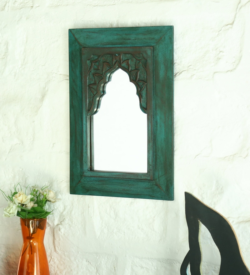 Green Solid Wood Minaret Small With Carving Mirror by Artisans Rose