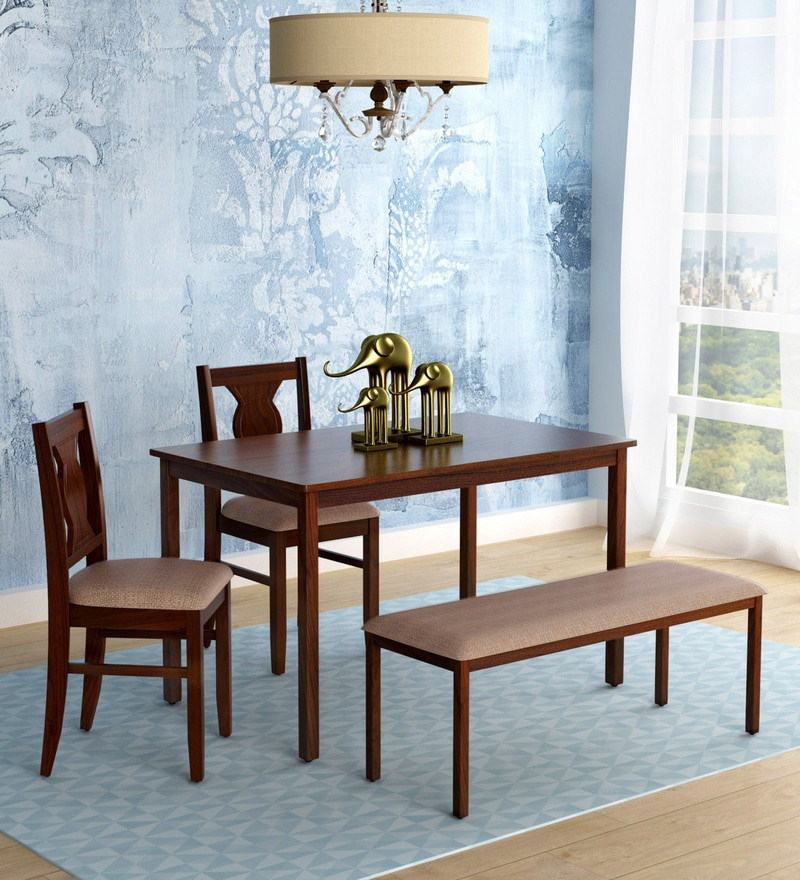 Artois Four Seater Dining Set With Bench Two Chairs In Dark Walnut Finish By HomeTown