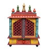 Multicolour MDF & Mango Wood Temple with One Drawer & Door by Art Creation