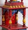 Art of Jodhpur Multicolour Solid Wood Jodhpuri Hand painted Temple