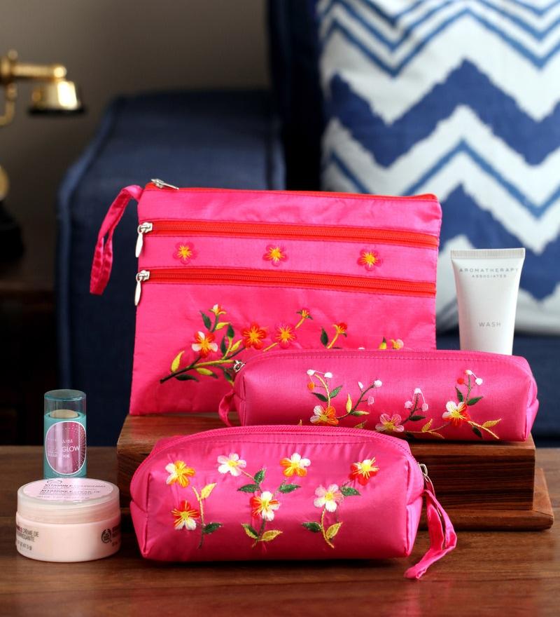 Asian Artisans Vietnamese Pink Silk Travel Pouch - Set of 3