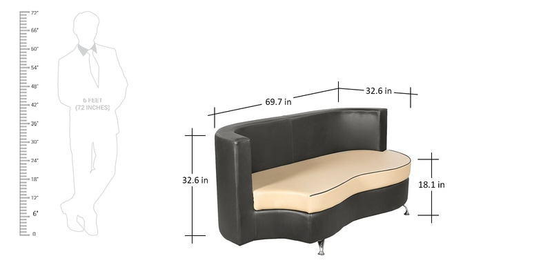 Brilliant Athena Plus Sofa Sectional 2 2 Seater In Beige Black Colour By Godrej Interio Machost Co Dining Chair Design Ideas Machostcouk