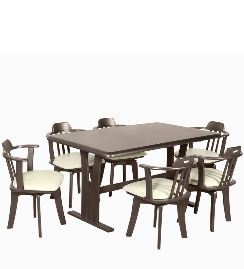 Buy Atlanta Six Seater Dining Table In Dark Brown Colour By Godrej Interio Online Six Seater