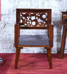 Aura Arm Chair With Grey Cushion In Provincial Teak Finish