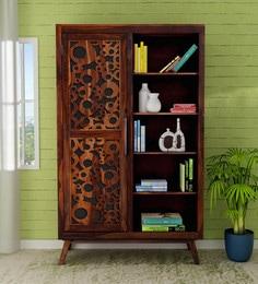 Aura Solid Wood Cupboard Cum Book Shelf In Provincial Teak Finish