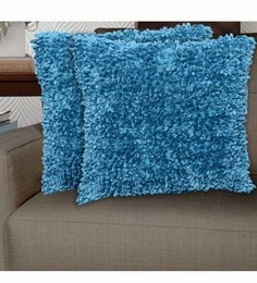 Avira Home Blue Micro Polyester 18 X 18 Inch Pixi Shaggy Cushion Cover - Set Of 2 - 1604824