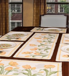 Avira Home Floral Stalks Yellow Table Mats And Runner, Set Of 7