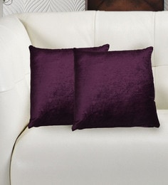 Avira Home Gold And Purple Velvet 16 X 16 Inch Luxury Cushion Cover - Set Of 2